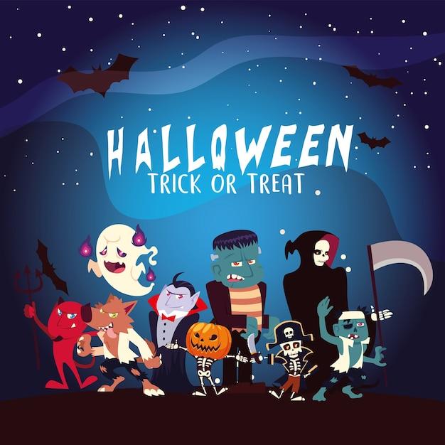 Desenhos animados de halloween com lua e morcegos à noite, ilustração de férias e tema assustador Vetor Premium