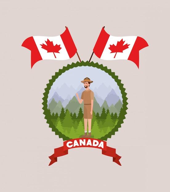 Desenhos animados de homem de guarda florestal e canadá Vetor grátis