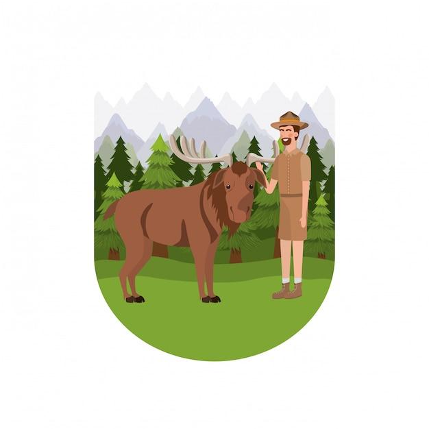 Desenhos animados de homem de guarda florestal Vetor grátis