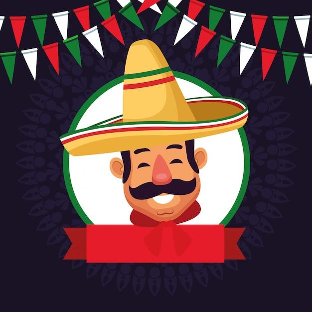 Desenhos animados de ícone de avatar de cara de homem mexicano Vetor grátis