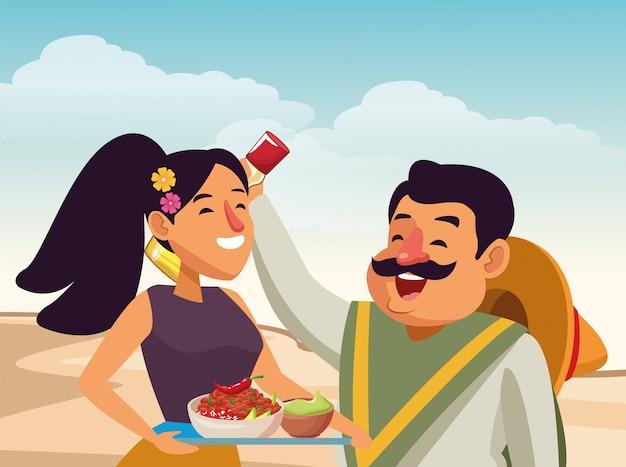 Desenhos animados de ícone de cultura tradicional mexicana Vetor grátis