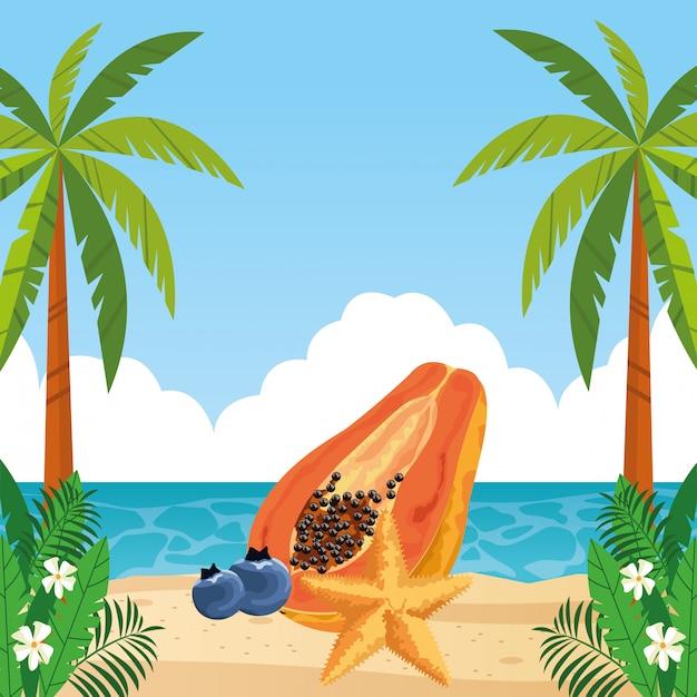 Desenhos animados de ícone de frutas tropicais exóticas Vetor grátis