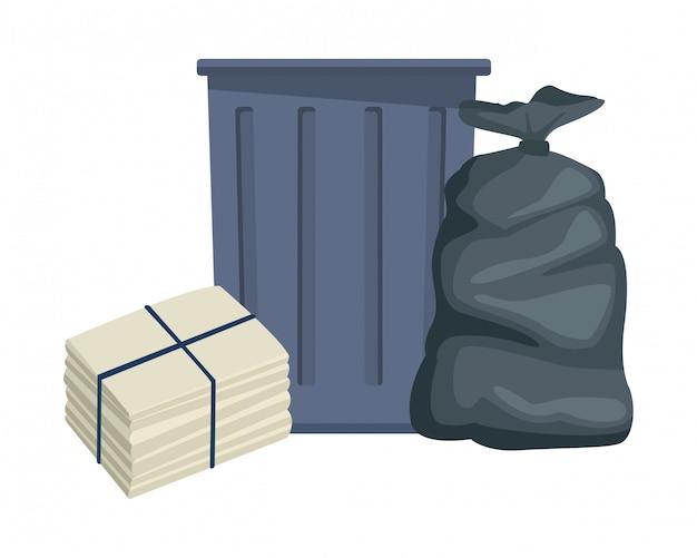 Desenhos animados de ícone de lata de lixo de lixo Vetor Premium