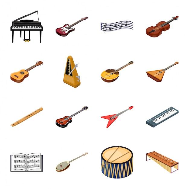Desenhos animados de instrumento de música definir ícone. instrumento de música de ilustração. Vetor Premium