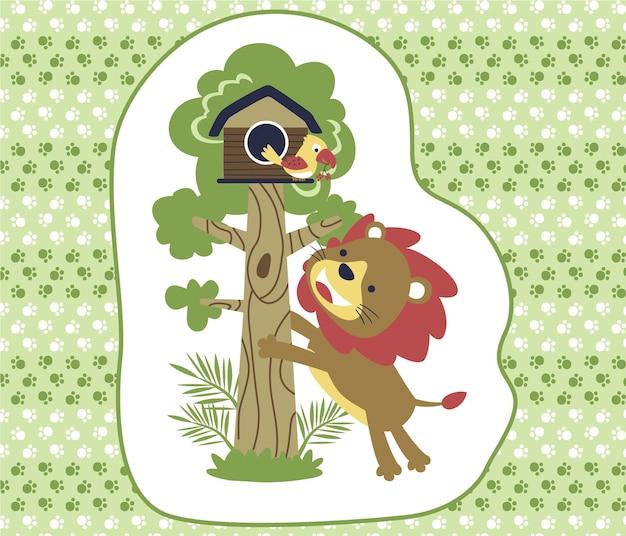 Desenhos animados de leão e pássaro no fundo da pegada Vetor Premium