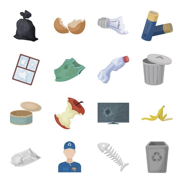 Desenhos animados de lixo e lixo definir ícone. desenhos animados isolados de resíduos e lixo ícone definido. ilustração lixo e lixo. Vetor Premium