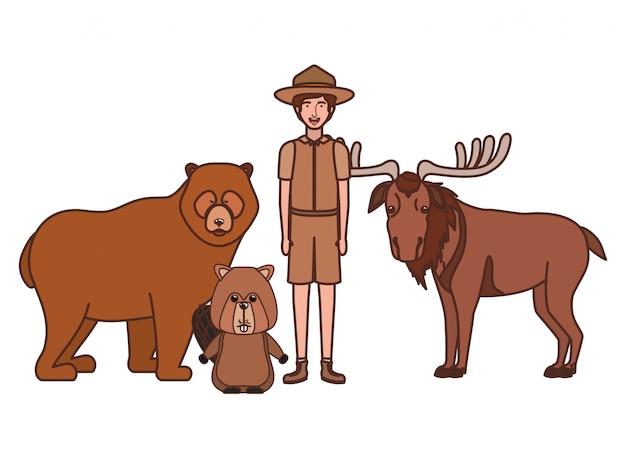 Desenhos animados de menino de guarda florestal Vetor grátis