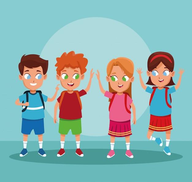 Desenhos animados de meninos e meninas de escola Vetor grátis