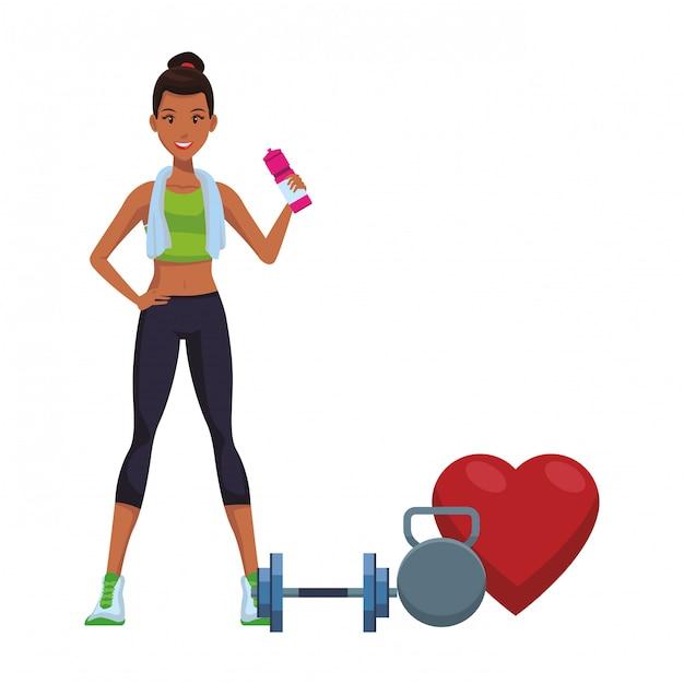 Desenhos Animados De Mulher De Fitness Vetor Premium