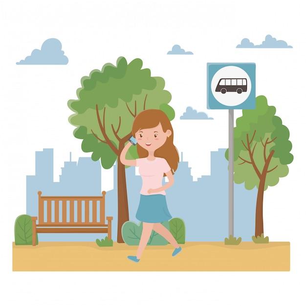 Desenhos animados de mulher e design de parada de ônibus Vetor Premium