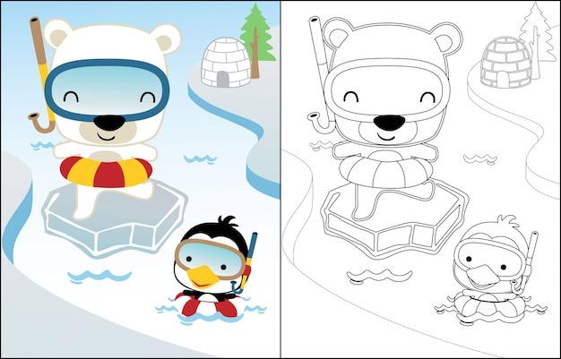 Desenhos animados de nadar com urso polar e pinguim Vetor Premium