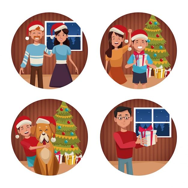 Desenhos animados de natal da família Vetor Premium