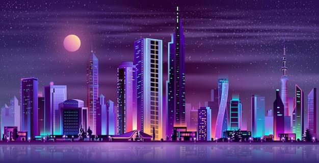 Desenhos animados de néon da paisagem moderna da noite da cidade Vetor grátis