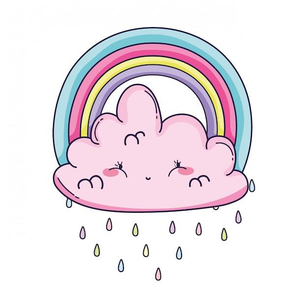 Desenhos animados de nuvem e arco-íris Vetor Premium