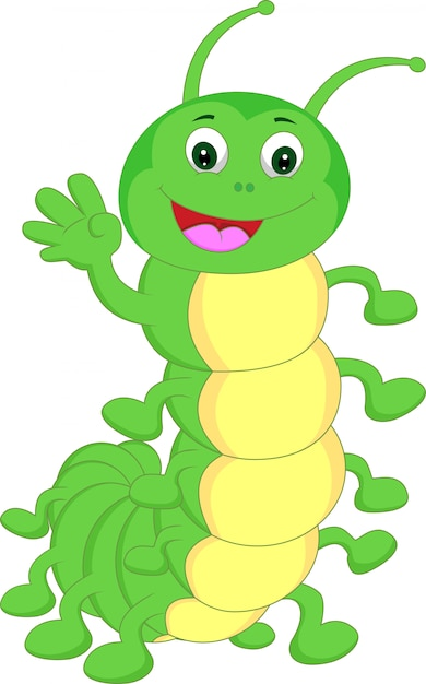 Desenhos animados de ondulação da lagarta bonito Vetor Premium