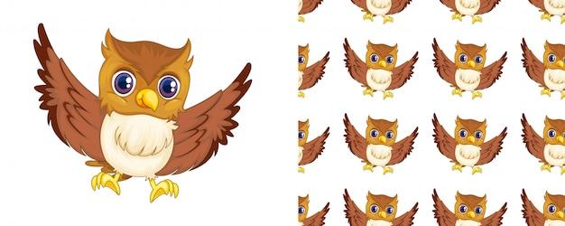 Desenhos animados de padrão de coruja isolado Vetor Premium