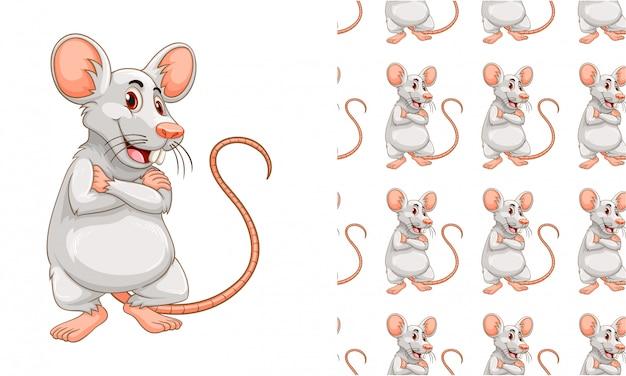 Desenhos animados de padrão de rato isolado Vetor grátis
