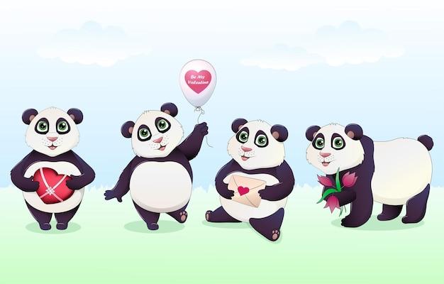 Desenhos animados de panda coloridos com diferentes presentes de amor Vetor Premium