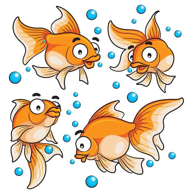 Desenhos Animados De Peixinho Vetor Premium