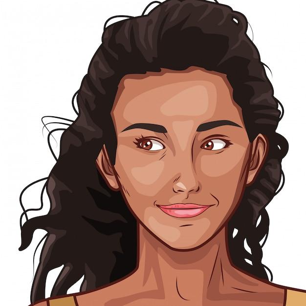 Desenhos Animados De Rosto De Mulher Bonita De Arte Pop Vetor