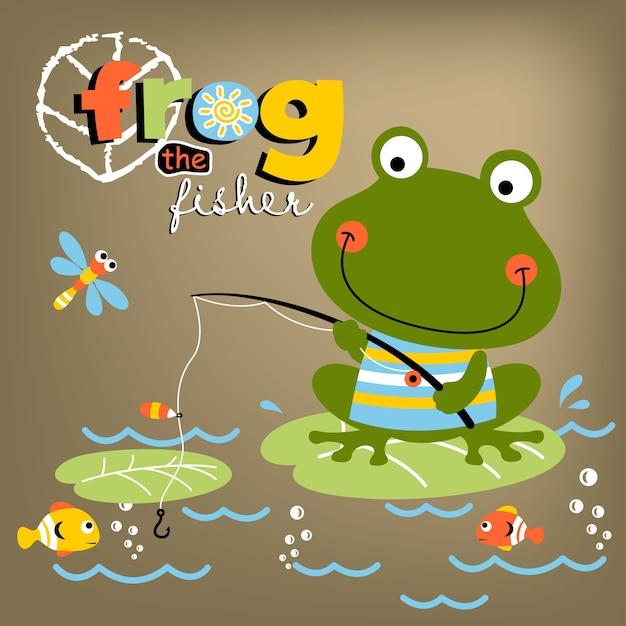 Desenhos Animados De Sapo De Pesca Vetor Premium