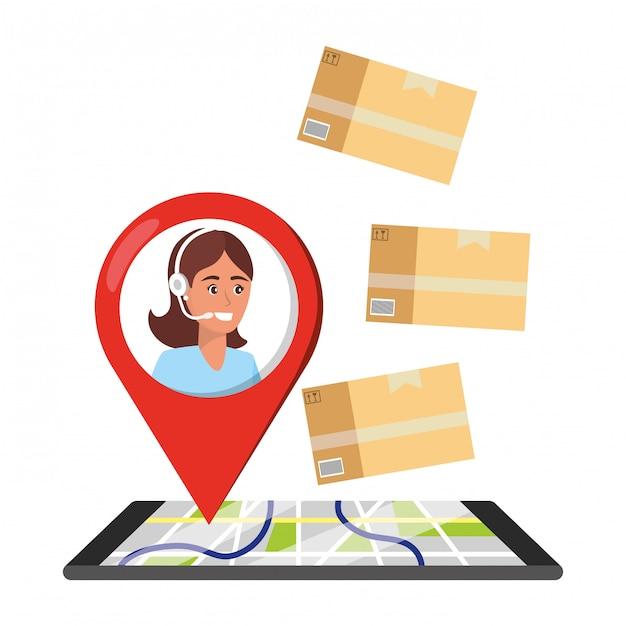 Desenhos animados de serviço de logística de suporte ao cliente Vetor Premium