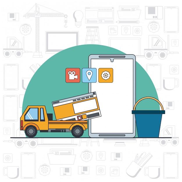 Desenhos animados de suporte de manutenção de dispositivo de tecnologia Vetor grátis