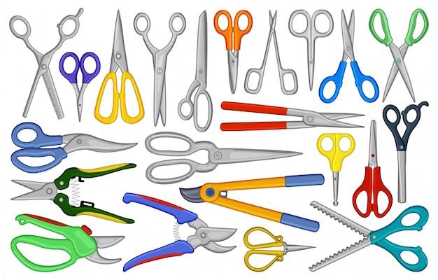 Desenhos animados de tesoura definir ícone. ilustração equipamento de tesoura no fundo branco. desenho animado conjunto tesoura ícone. Vetor Premium
