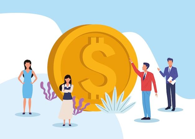 Desenhos animados de trabalho executivo profissional de negócios Vetor Premium