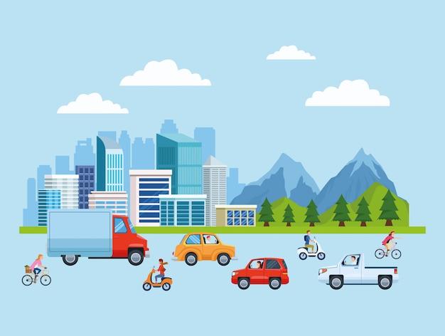 Desenhos animados de transporte e mobilidade da cidade Vetor Premium