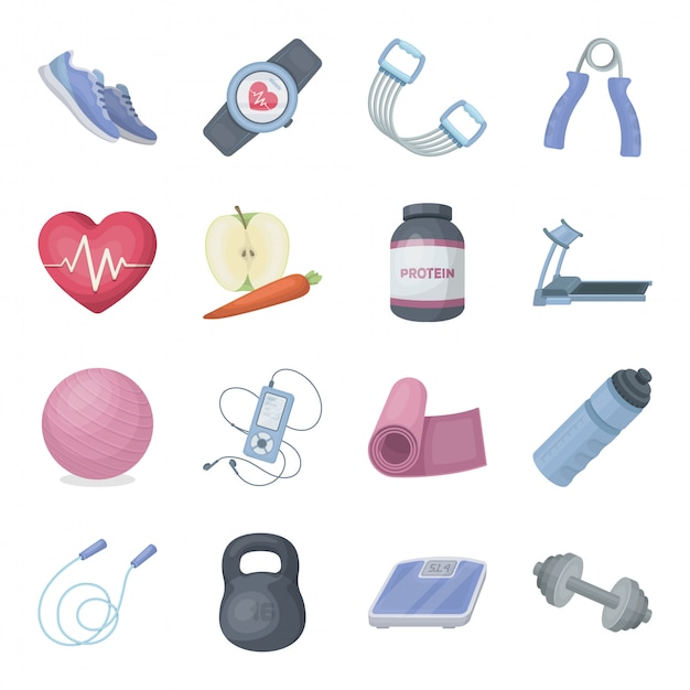 Desenhos animados de treino de ginásio definir ícone. esporte fitness. desenhos animados isolados definir ícone ginásio treino. Vetor Premium