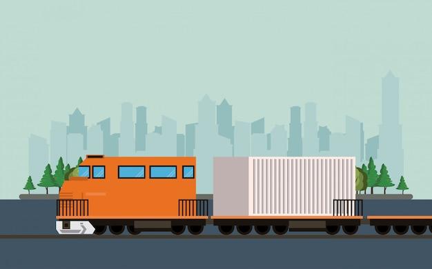 Desenhos animados de trem de carga logística de mercadoria de transporte Vetor grátis
