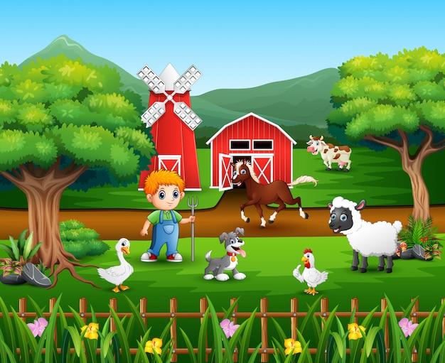 Desenhos animados de um agricultor em sua fazenda com um monte de animais de fazenda Vetor Premium