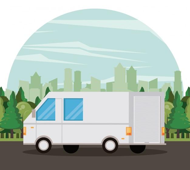 Desenhos animados de van de entrega de veículo de transporte Vetor grátis