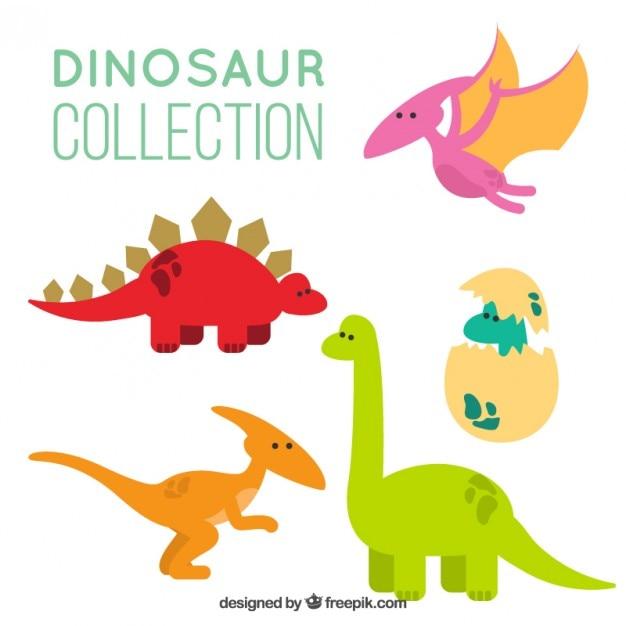 Desenhos Animados Dinossauros Pacote Vetor Gratis