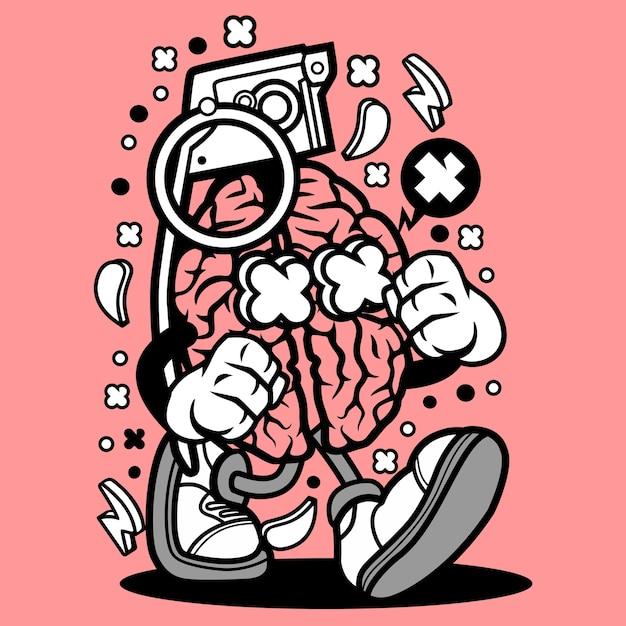 Desenhos Animados Do Cerebro Da Granada Vetor Premium