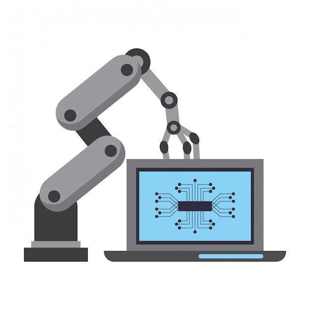 Desenhos animados do conceito de ícones de inteligência artificial Vetor Premium