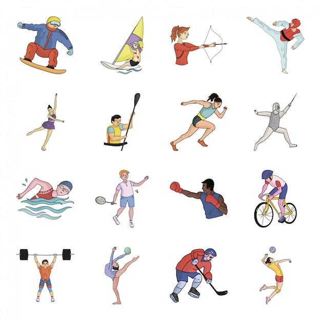 Desenhos animados do esporte olímpico definir ícone. esporte olímpico de ilustração. Vetor Premium