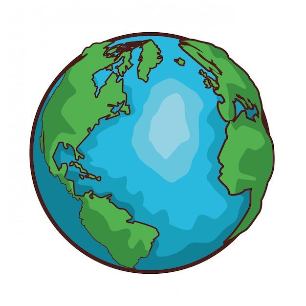 Desenhos animados do globo do mapa do mundo Vetor Premium