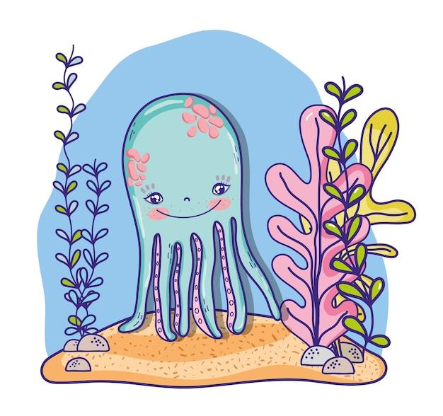Desenhos animados do mar do polvo Vetor Premium