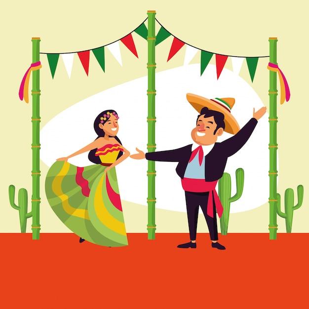 Desenhos animados do mexicano cinco de mayo Vetor Premium