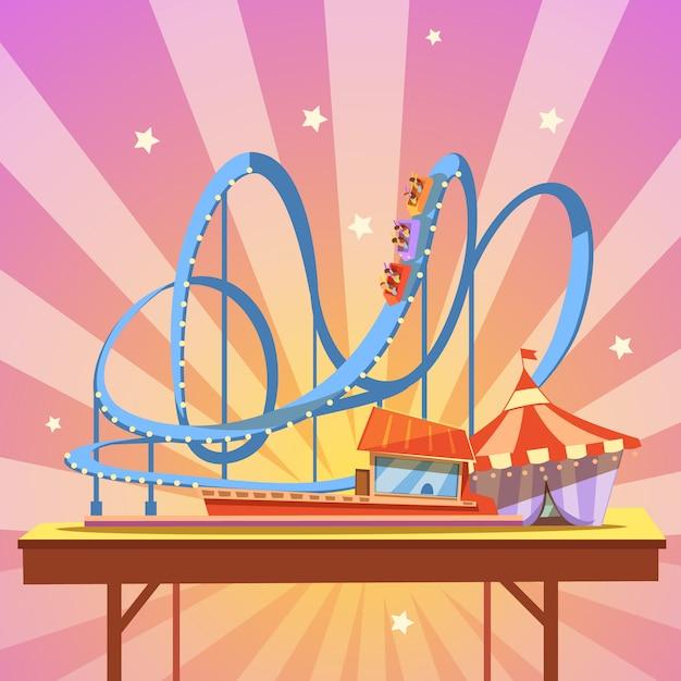 Desenhos animados do parque de diversões com montanha-russa de estilo retro em abstrato Vetor grátis