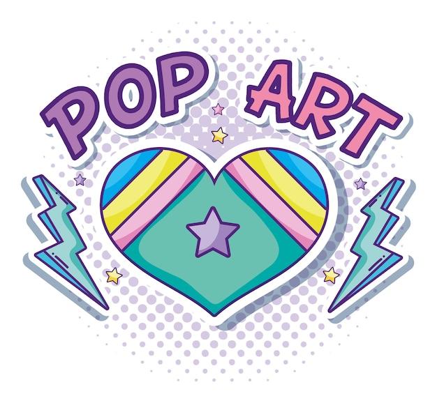 Desenhos Animados Do Pop Art Do Coracao E Do Amor Vetor Premium