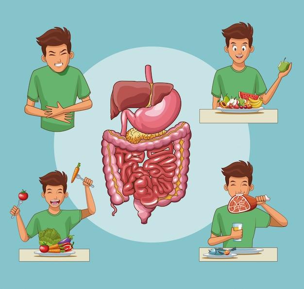 Desenhos animados do sistema digestivo e jovem Vetor Premium