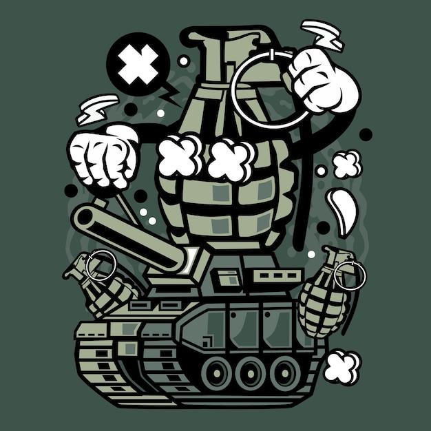 Desenhos Animados Do Tanque Da Guerra Da Granada Vetor Premium