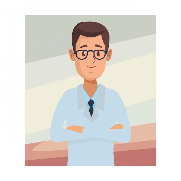 Desenhos animados do upperbody do farmacêutico da farmácia Vetor Premium