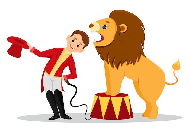 Desenhos animados domador de leão coloca a cabeça nas garras do leão Vetor Premium
