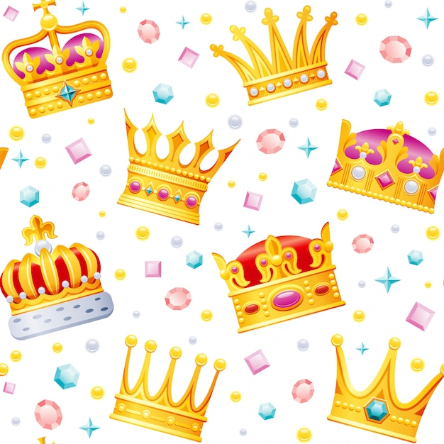 Desenhos animados dourados coroas padrão sem emenda. Vetor Premium