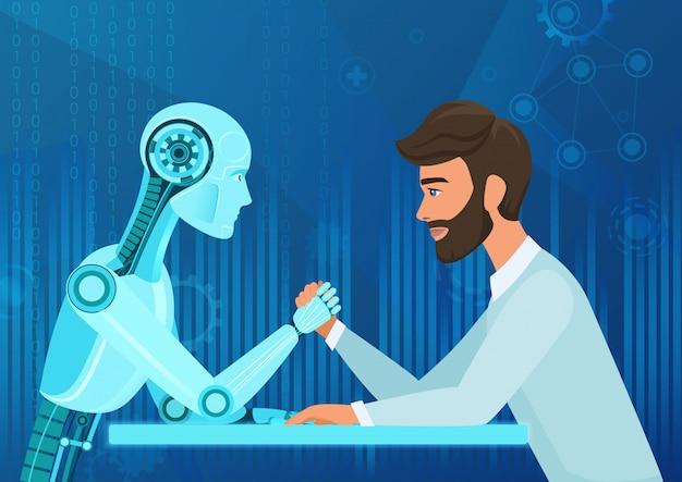 Desenhos animados empresário humano escritório gerente homem vs robô inteligência artificial puxando a competição de corda. batalha do futuro próximo. Vetor Premium