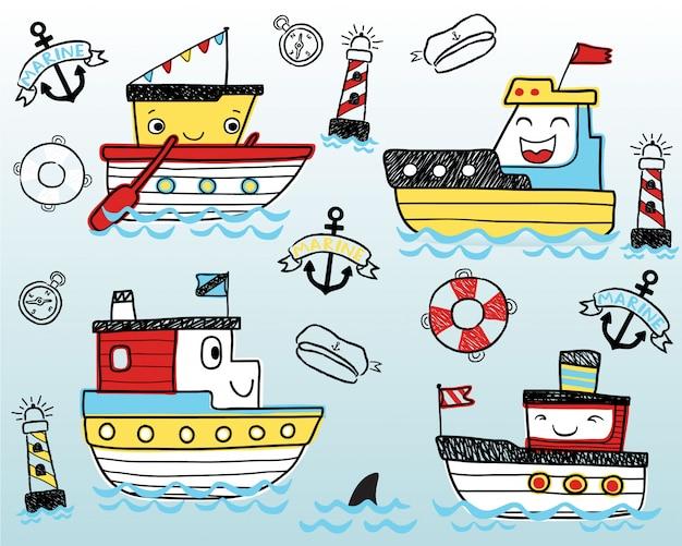 Desenhos animados engraçados agradáveis dos navios Vetor Premium